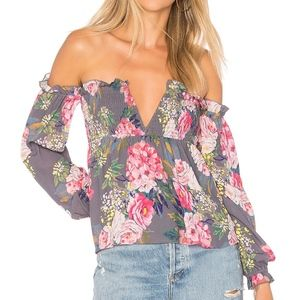Revolve Majorelle Etta Off the Shoulder LS Top